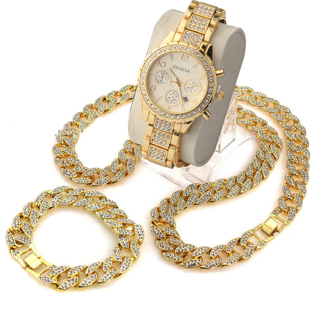3 Pcs / Set Blingbling Hip Hop Shining stones Watch and Necklace