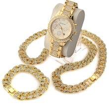 "3 шт./компл. blingbling хип-хоп блестящими камнями часы 24 ""Iced Out кубинский камень браслет-цепочка ожерелье часы комплект"