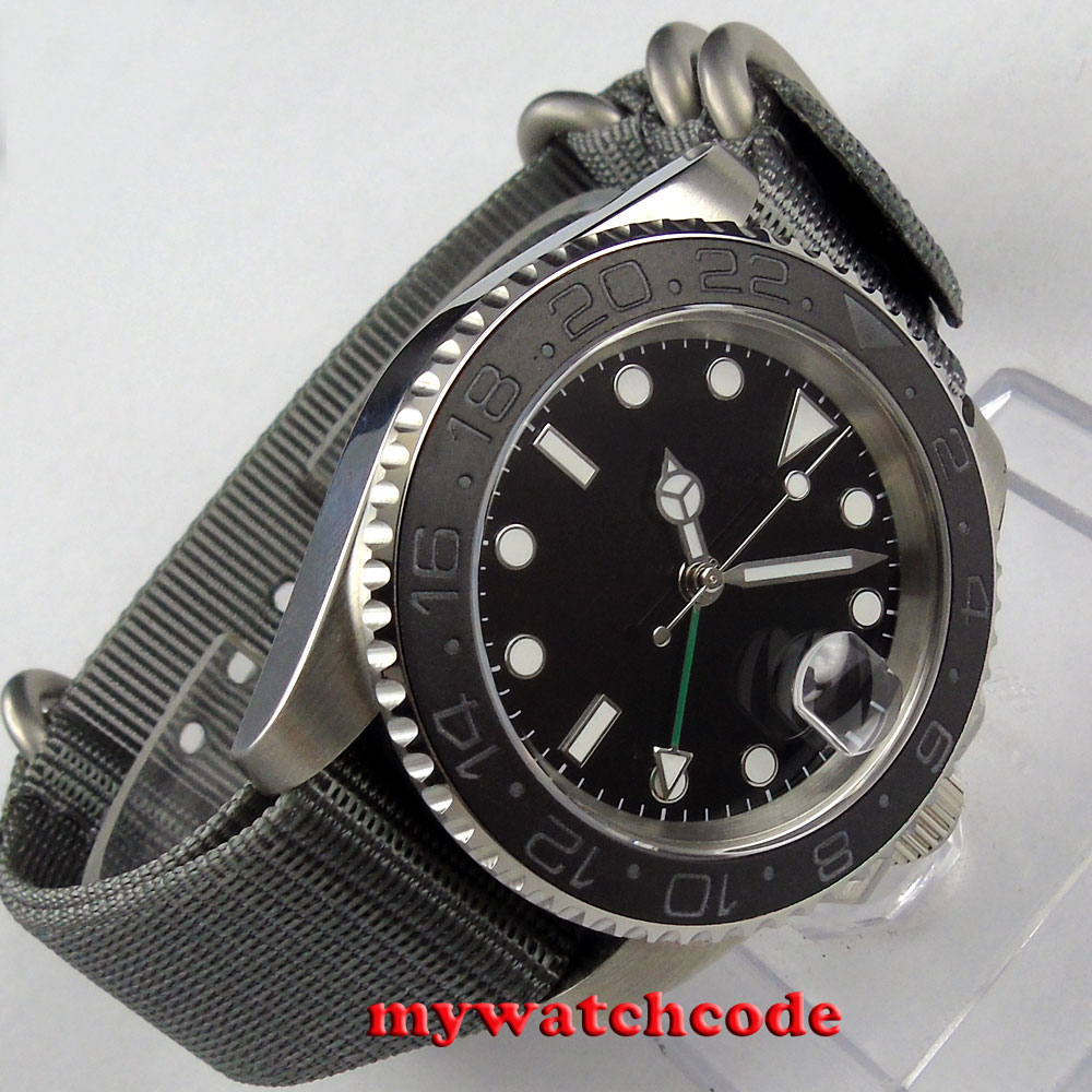 лучшая цена 40mm parnis black dial GMT ceramic bezel sapphire glass automatic mens watch 406
