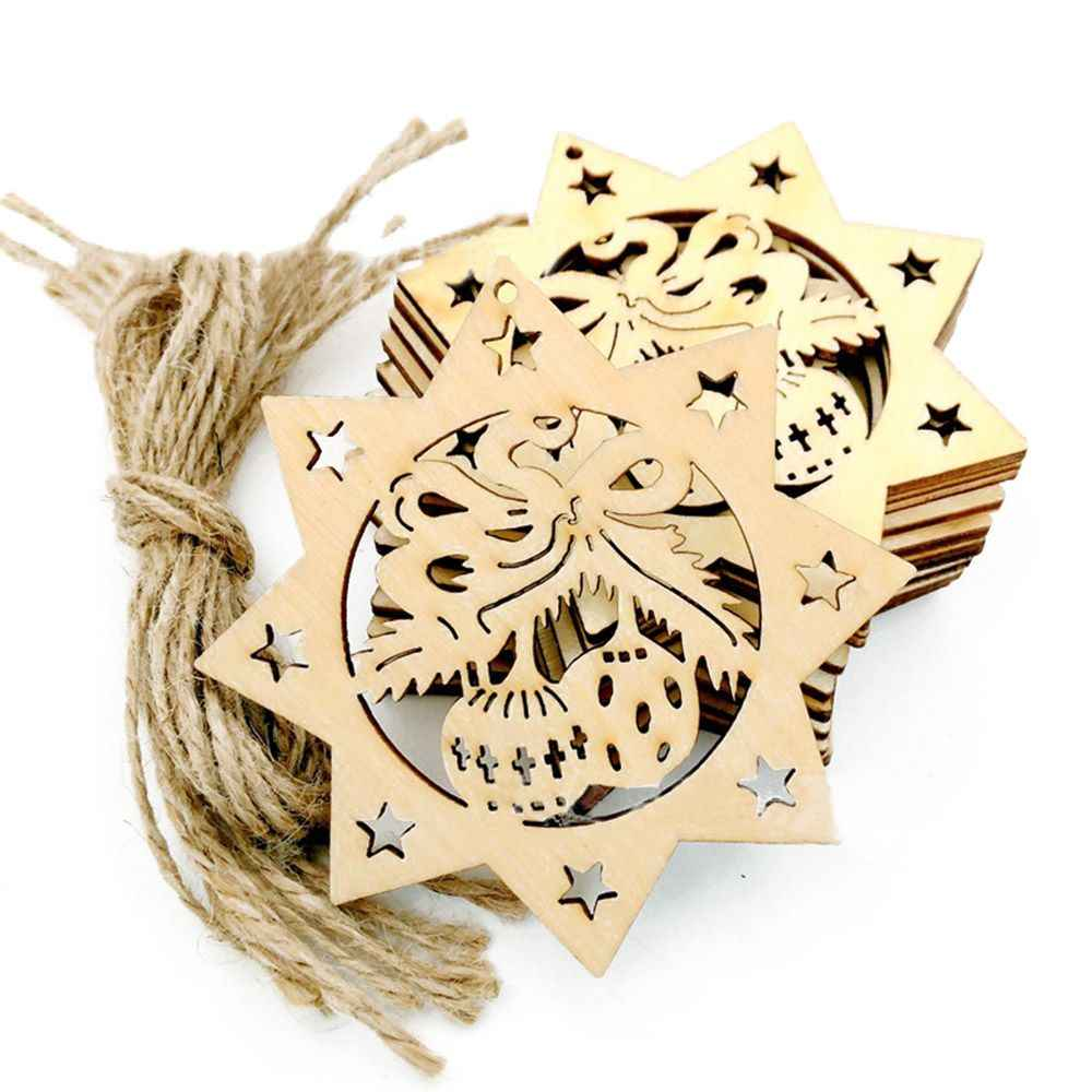 10Pcs/Lot Christmas Wood Snowflake Rustic Christmas Decorations For Xmas Tree Hanging Ornament Party Festival Supplies