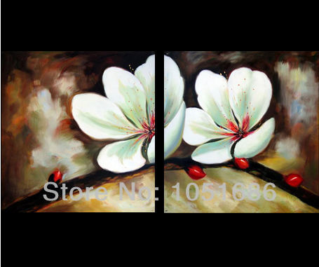 Handmade Modern Feng Shui Canvas Abstract Art 2 Piece Blooming White Flowers Oil Painting Wall Decor