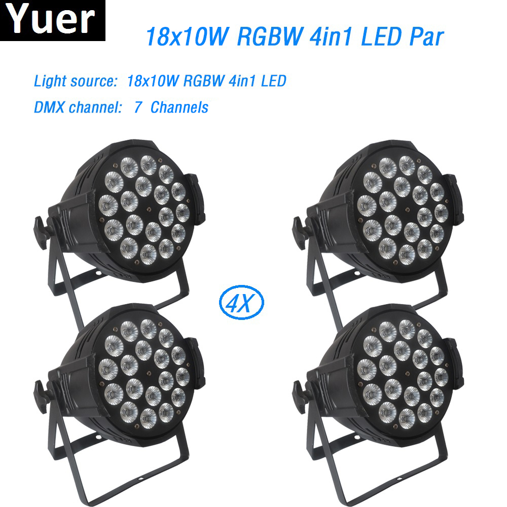 4Pcs/lot Aluminum LED Par 18x10W RGBW 4in1 LED Par Can Par led spot light wash dj projector stage light Moving head DMX512 disco набор для соли и перца sinoglass подсолнухи тосканы 2 предмета