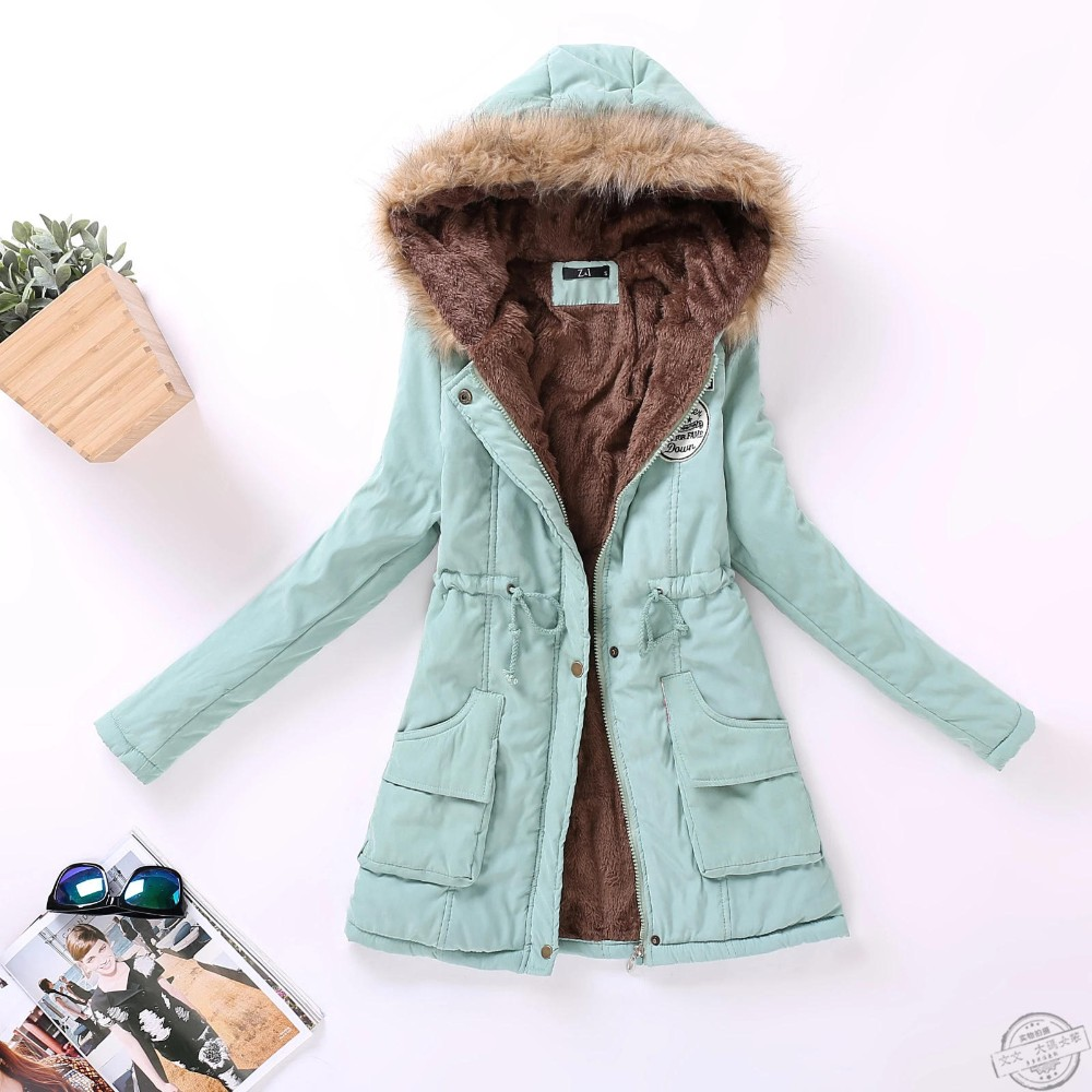 new winter women jacket medium-long thicken plus size 4XL outwear hooded wadded coat slim parka cotton-padded jacket overcoat 10