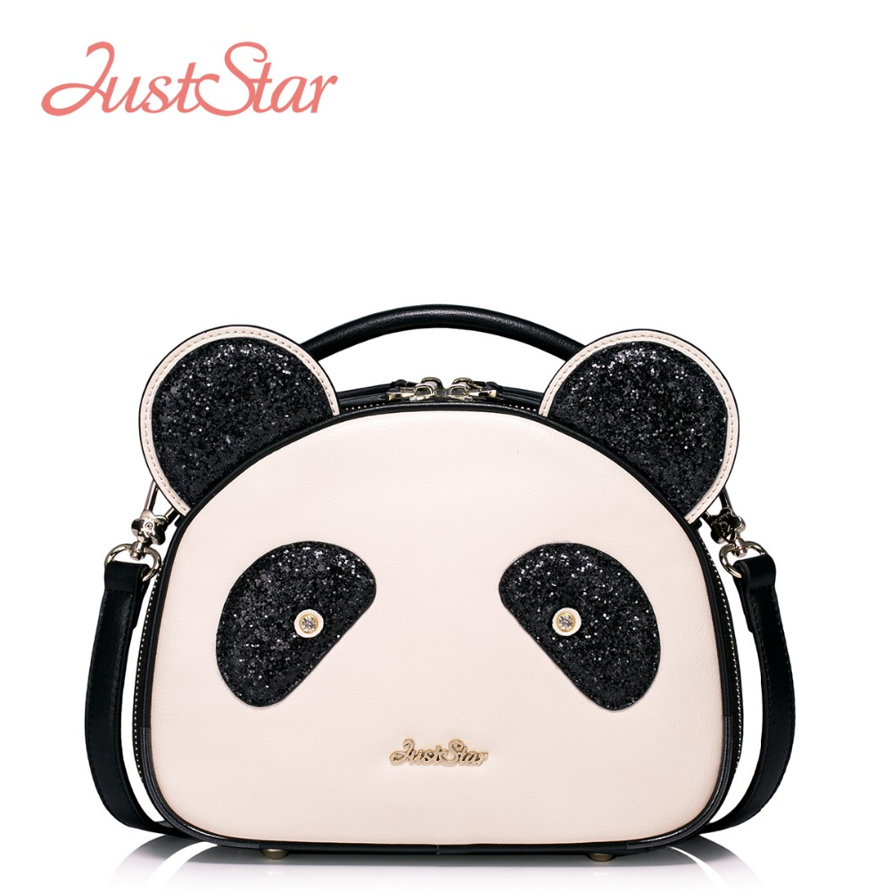 JUST STAR Women PU Leather Handbags Cartoon Panda Small Tote Bags Girl's Shoulder Crossbody Bags Female Messenger Bags J1045