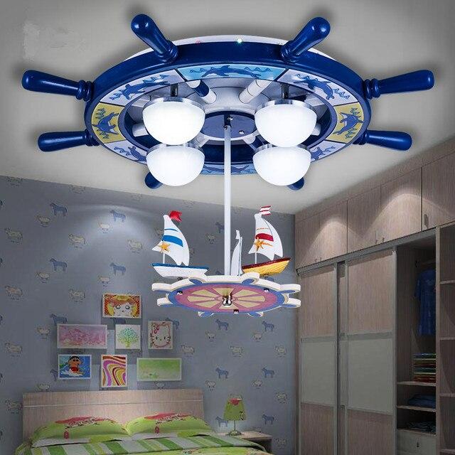 Cartoon Pink Mermaid Blue Sailboat Rotatable Childrenu0027s Bedroom Ceiling  Lights Children Lamps Led Remote Control