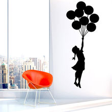 Art Design Banksy Wall Sticker Flying Balloon Girl Home Decor Vinyl Wall Decal Self Adhesive Graffiti
