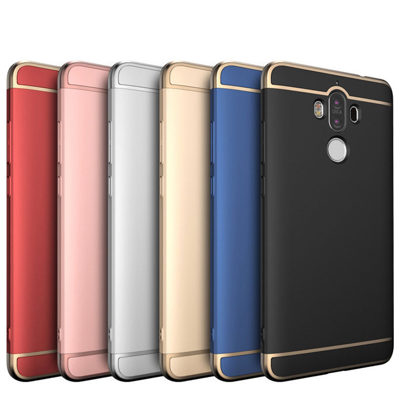 For Huawei Mate 9 Case Luxury Metal Plating Shockproof Matte Frosted Plastic Hard Back Cover For Huawei Mate 9 Cases 3 in 1