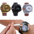 1 PC Mens Watch USB Cigarette Rechargeable Windproof Flameless Lighter Military Watch