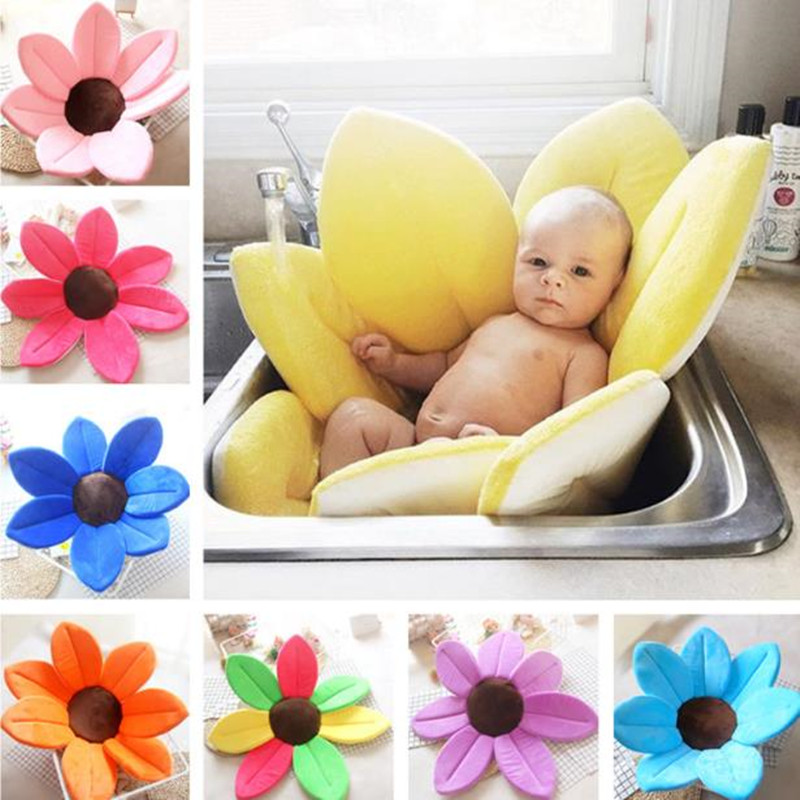 Newborn Baby Bathtub Petal Shape Soft Seat Mat Plush Solid Color Infant Take Bath Sink Shower Sponge Mat Foldable Tub Cushion