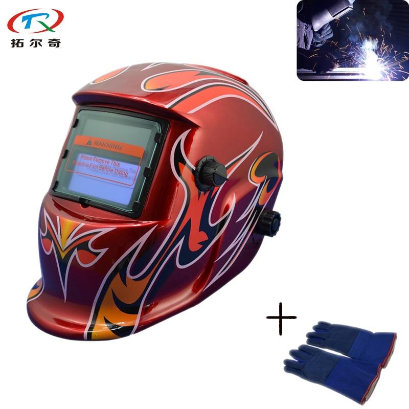 Tools Trq-hd06-2233de Ce Certified Welding Helmet Auto Darkening With Welding Glove Solar Powered Filter Lens Fast Shipping Welding & Soldering Supplies