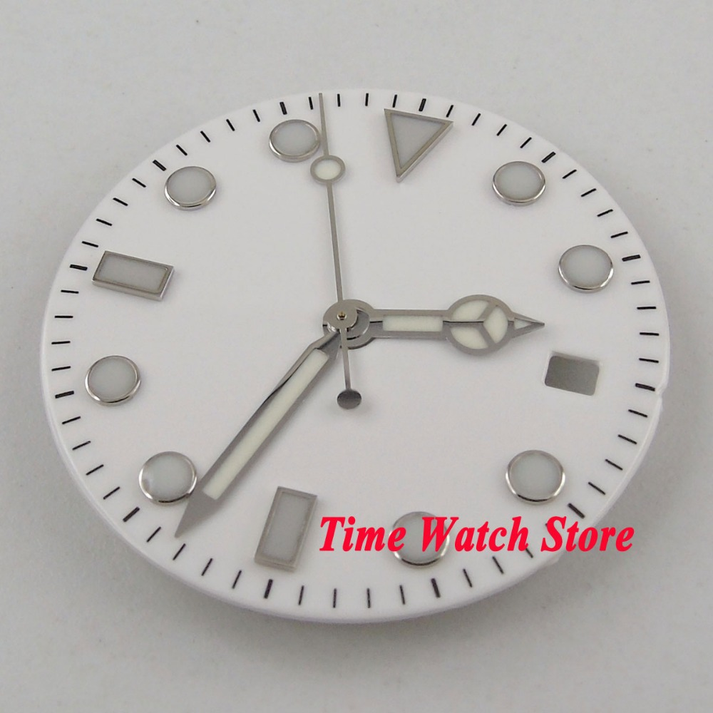 28.5mm No Logo White Dial Luminous Marks Watch Dial Fit MIYOTA 8215 821A Mingzhu 2813 Automatic Movement + Hands D119