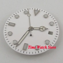 f25a136ff9a 28.5mm sem logotipo branco dial luminous marcas Mostrador do Relógio fit  MIYOTA 8215 821A Mingzhu 2813 Movimento Automático + mã.