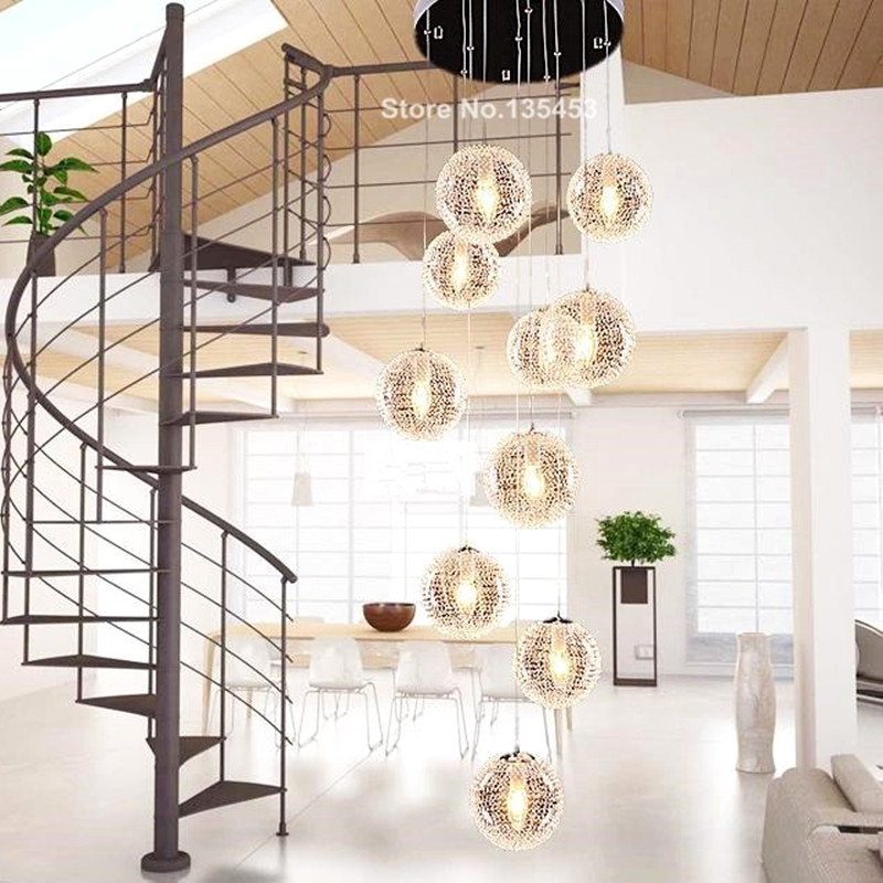 Upscale atmosphere Pendant Lights Large Long Stair E14 Round Ball  10 Lights lustres de teto Glass  the new listing hot selling perforated lustres de teto european luxury double helix stair pendant lights 100% crystal guarantee