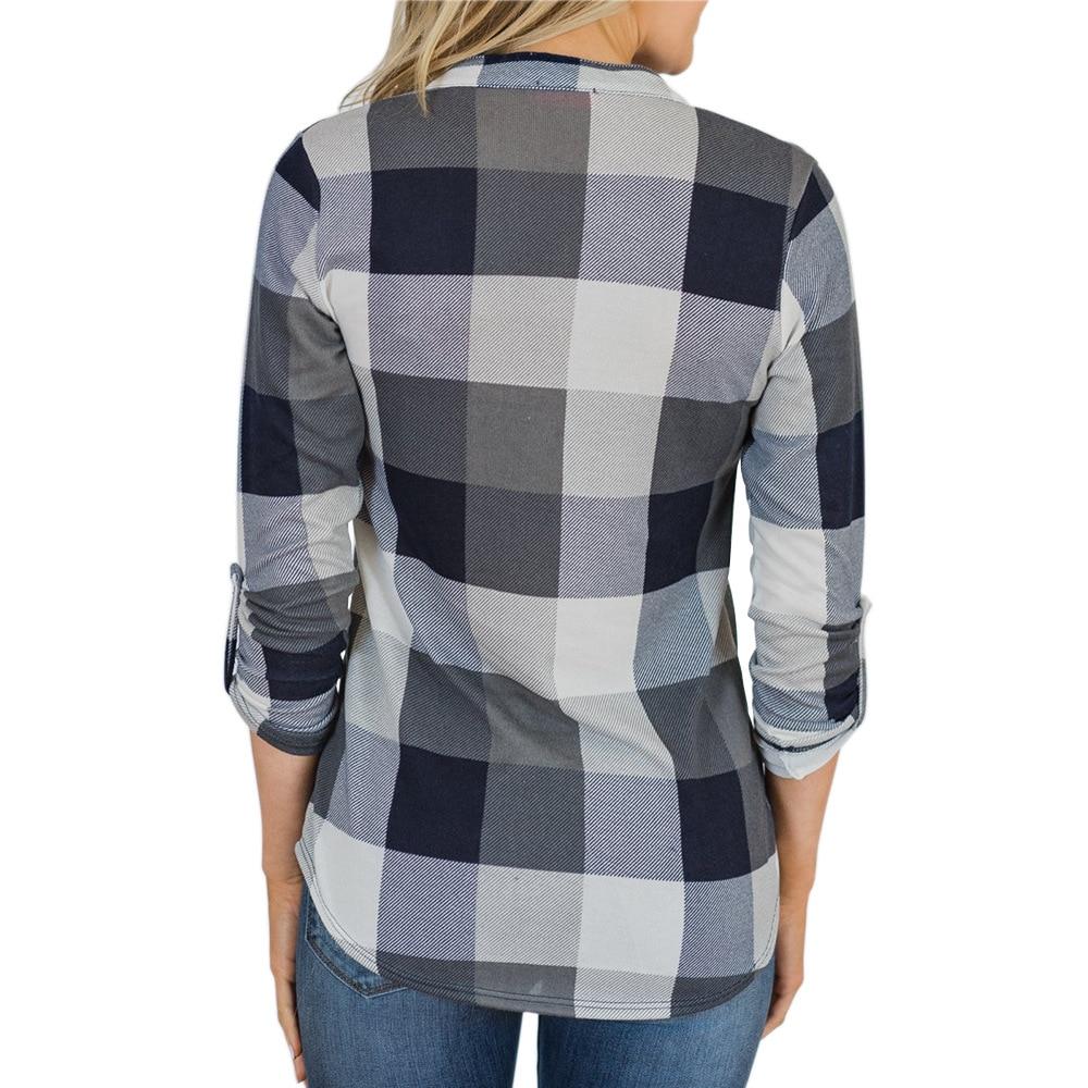 V-neck Blouse Women Long Sleeve Plaid Shirt Top Spring Autumn Casual Office Blouse Blusas Mujer De Moda 2018 Blouses Feminine10