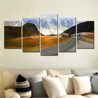 5 Pieces Wall Poster For Living Room Wall Art Pictures Home Decor Highway Mountains Colorful Clouds