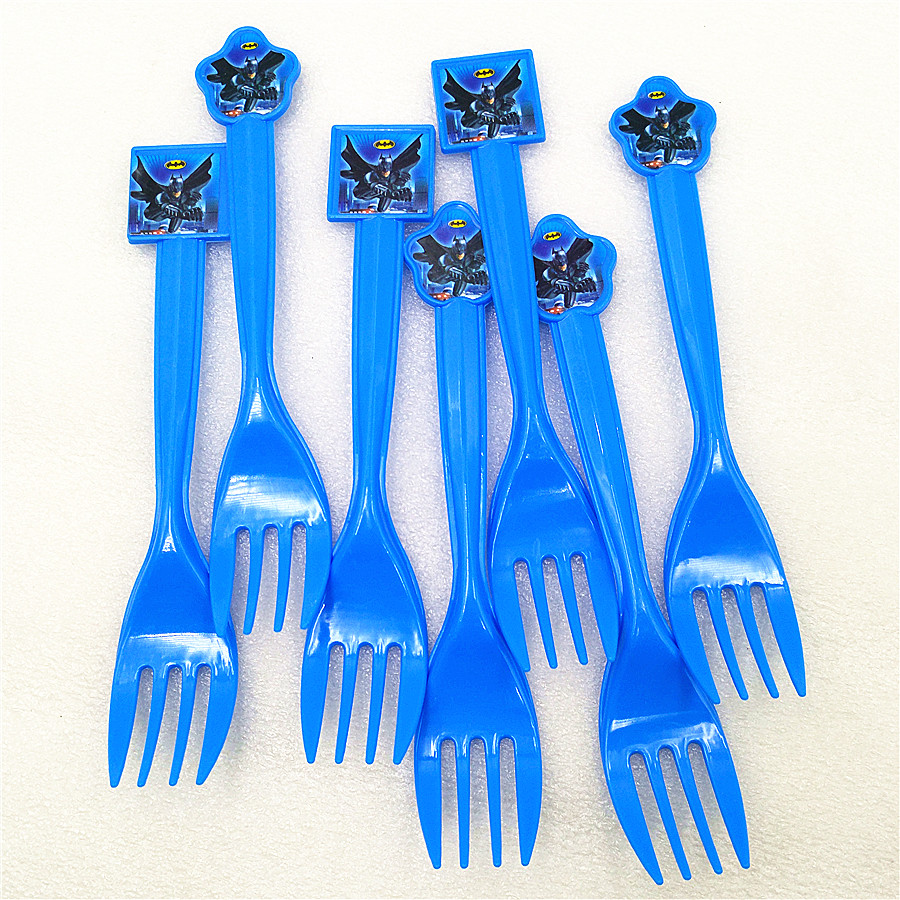 10pcs Batman Party Supplies Plastic Fork Christmas/Festival Kids Birthday theme Superhero Party Decoration Baby Shower Favors