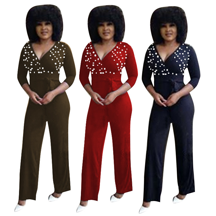 Sexy bodysuit tracksuit rompers womens jumpsuit skinny long sleeve pearl lace up wide leg pants slim overalls combinaison femme