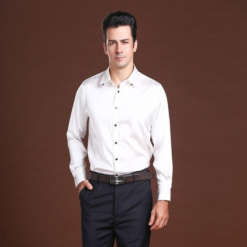 High end męska koszula biznesowa 100% jedwabiu z długim  gd6zH
