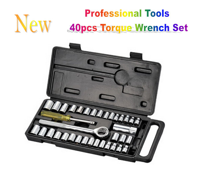 High Quality Professional Hand Tool Set 40pcs Set of Tools CR-V Spaner Socket Torque Wrench Kit