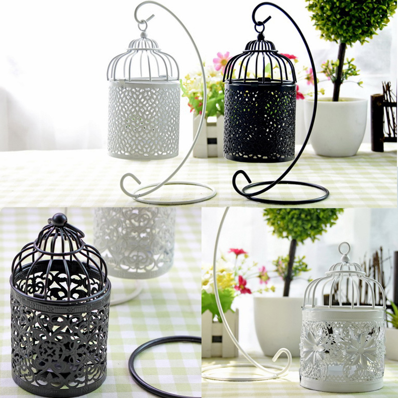 Vintage european lantern iron candle holders creative for Home decor and gifts