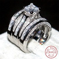 Fashion 925 Sterling Silver Jewelry Square Topaz CZ Simulated Diamond Stone Rings Sets Wedding Band Ring