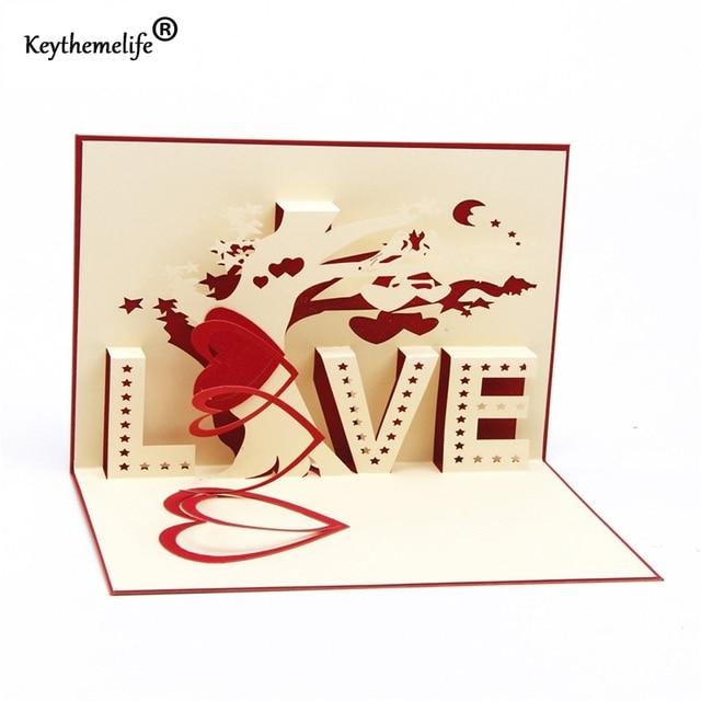 Keythemelife Love Letter Postcards 3D pop up greeting cards for