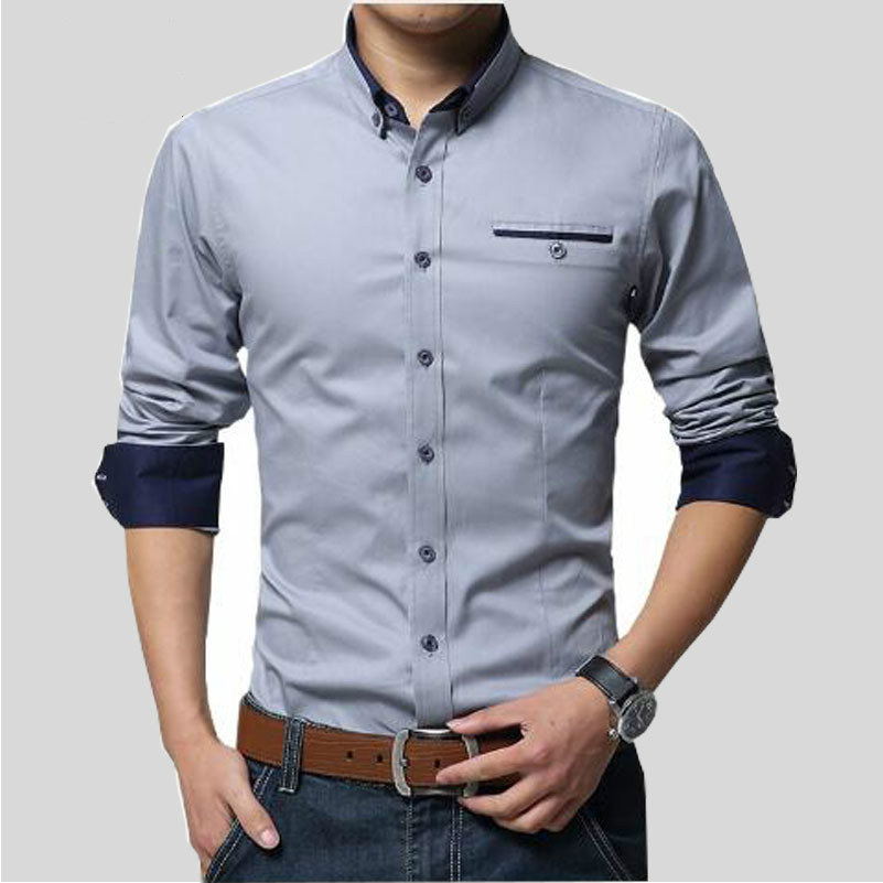 Humble Howl Lofty 2017 New Men Shirts Business Long Sleeve Turn-down Collar 100% Cotton Male Shirt Slim Fit Popular Designs Dcz1306 Reliable Performance Shirts