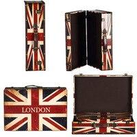 Zakka antico Epoca grande scatola di legno di Monili scatola di immagazzinaggio Caso di stile Inghilterra Londra USA America bandiera Unione Europea ZA2946