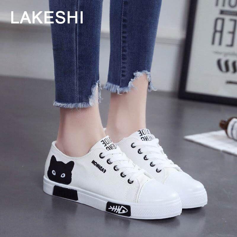 Moda feminina sapatos femininos sapatos de lona sapatos de plataforma mulher rendas acima dos desenhos animados gato senhoras sapatos de bordo sapatos femininos brancos