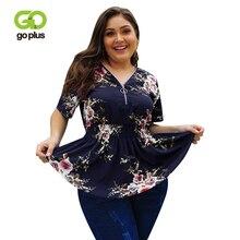 GOPLUS 2019 Plus size Floral Chiffon Boho Blouses Women Sexy Zipper V neck Short Sleeve Ladies Shirts Elegant Blusas Female Top все цены