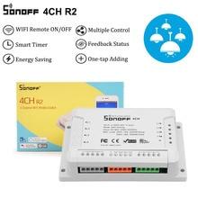 Sonoff 4CH R2 4 GANG WIFIสมาร์ทสวิทช์,4 ช่องสวิทช์อิเล็กทรอนิกส์IOS Android App Control,ทำงานร่วมกับAlexa Google Home
