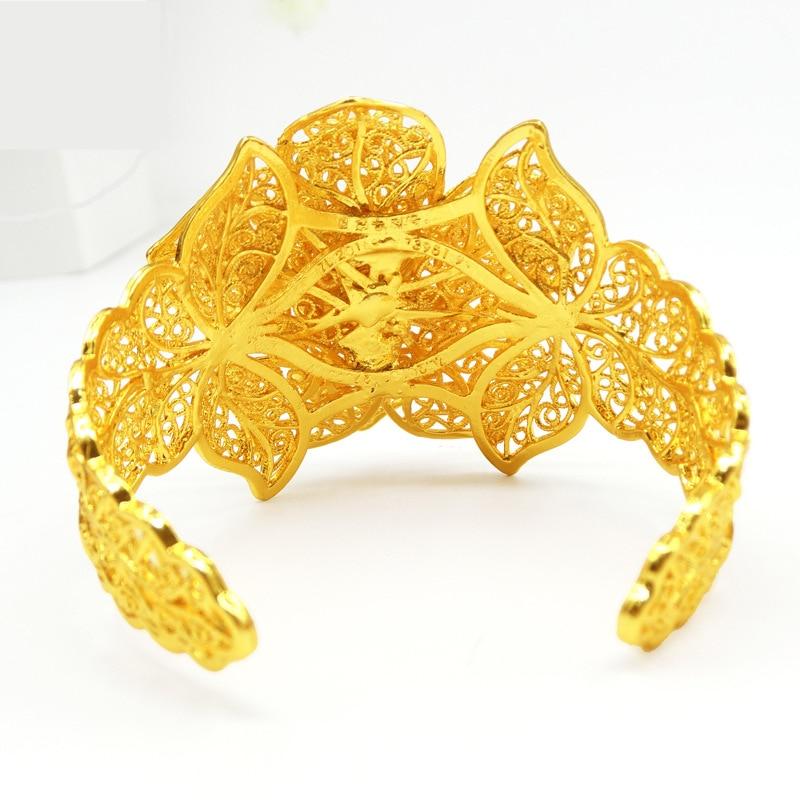 WANDO New Style Hollow Pattern Hot Bracelet Flower Cuff Bracelets Gold Color
