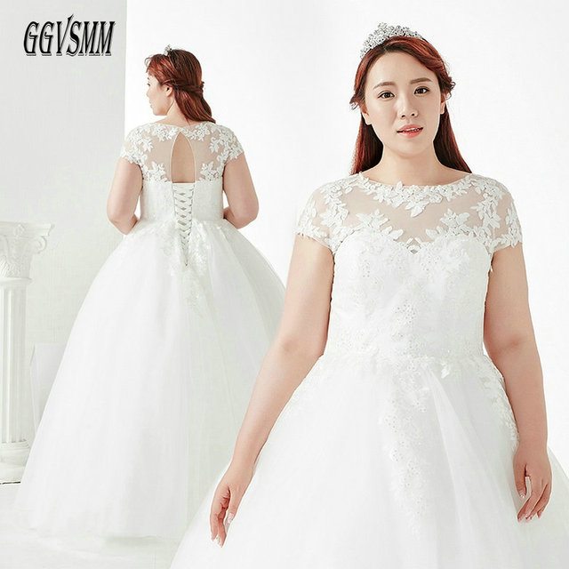 Elegant White Wedding Dress 2018 Ivory Wedding Gown Plus Size Scoop Tulle  Appliques Lace Up Sexy Women Bride Party Dresses Long ffaffd18105b
