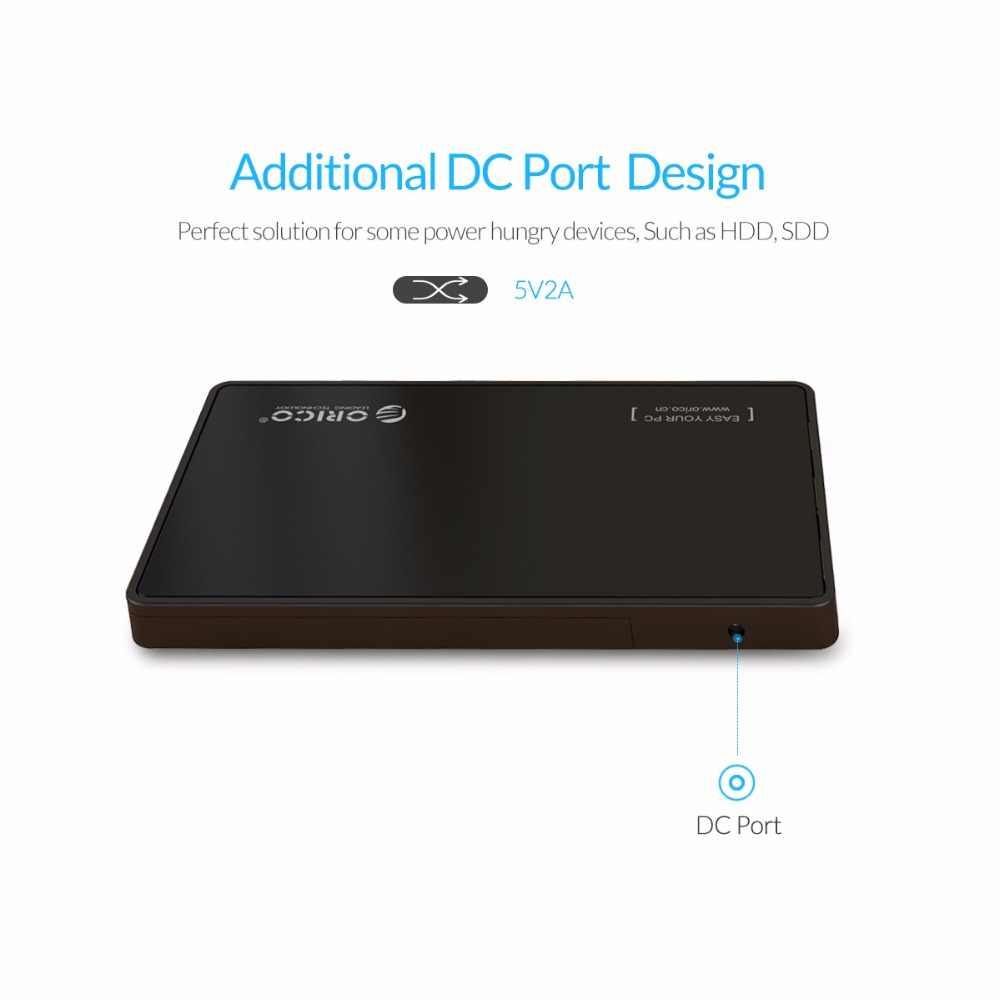 Carcasa ORICO para HDD de 2,5 pulgadas, carcasa para disco duro USB 3,0 con 3 puertos USB 3,0, herramienta de buje libre para 7mm/9,5mm HDD SSD