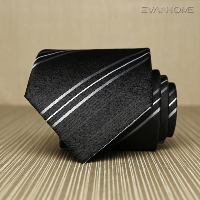 2017 Novo de Alta Qualidade Laços de Negócios Homens Clássicos 8 cm de Largura sarja Trabalho Gravata Noble Black White Stripe Ties for Men Presente caixa