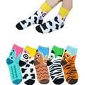 1 Pair Female 3D SocksAnimals Striped Animals lovely Cartoon Cotton Socks south Korean Creative Colorful Floor Sock for Lady