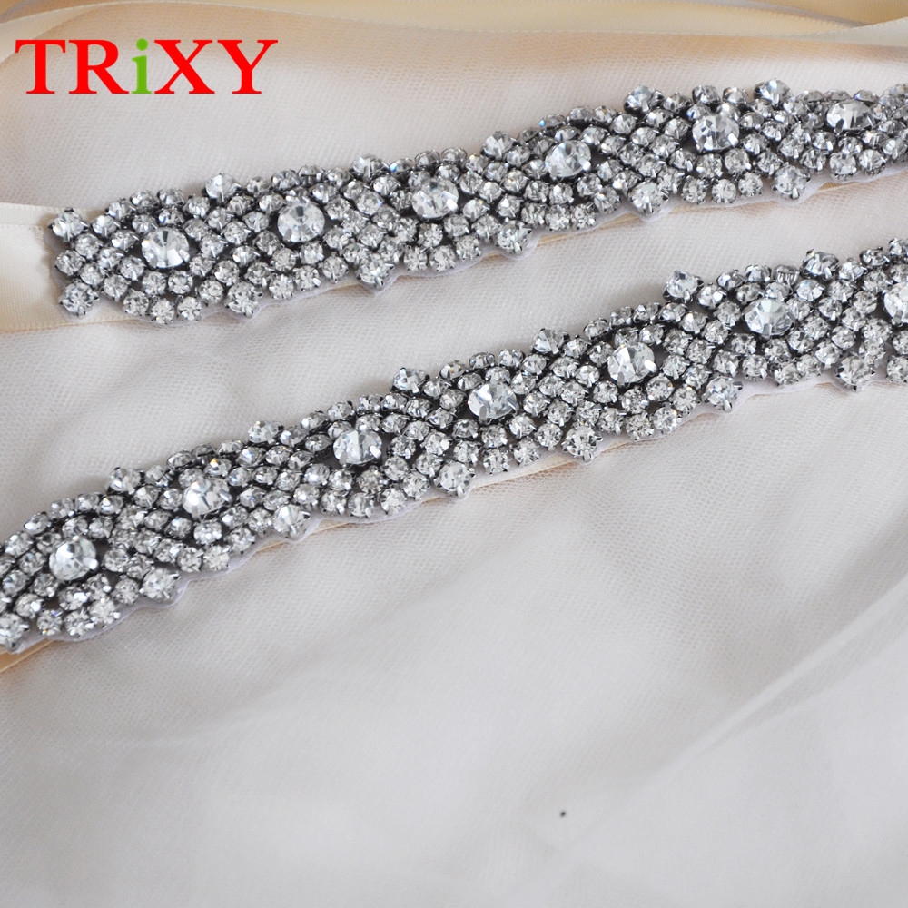 Trixy B102 Rhinestones Beaded Thin Wedding Belts Wedding Sashes Handmade Crystal Rhinestone Bridal Belts Bridal Sashes Moderate Price Wedding Accessories
