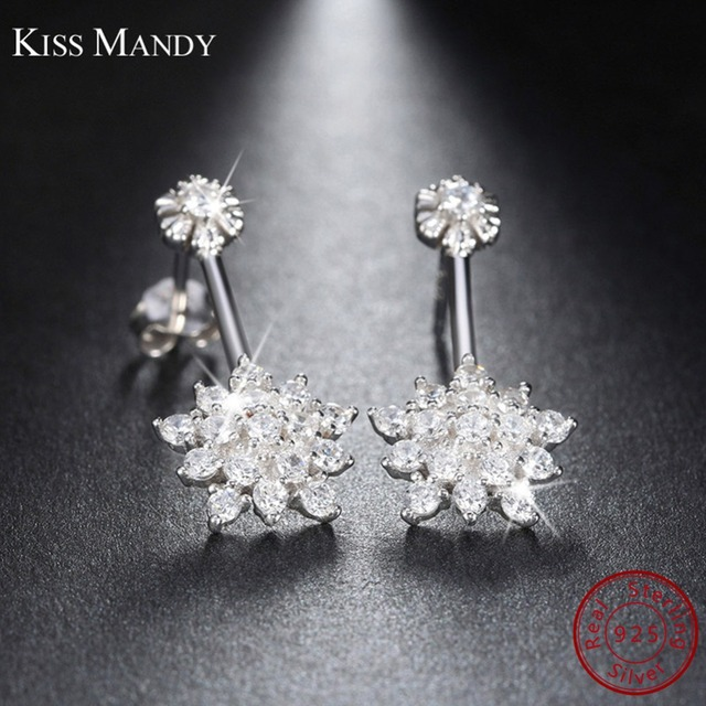 KISS MANDY 925 Sterling Silver Stud Earring for Women Flower Cluster Clear  AAA Crystal Zirconia Fashion Wedding Jewelry SE03