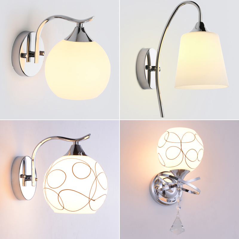 Modern Minimalist Bedroom Bedside Lamp Wall light Led Creative Living Room Stairs Aisle Lights Balcony Lamp glass wall lamp modern bedside lamp wall light minimalist fabric shade wall sconces lighting fixture for balcony aisle hallway wall lamp wl214