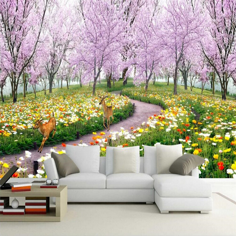3d wall mural wallpaper natural landscape beautiful for Deer landscape wall mural