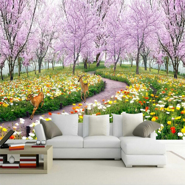 3D Wall Mural Wallpaper Natural Landscape Beautiful Flowers Paper Peach Blossom Large Living Room