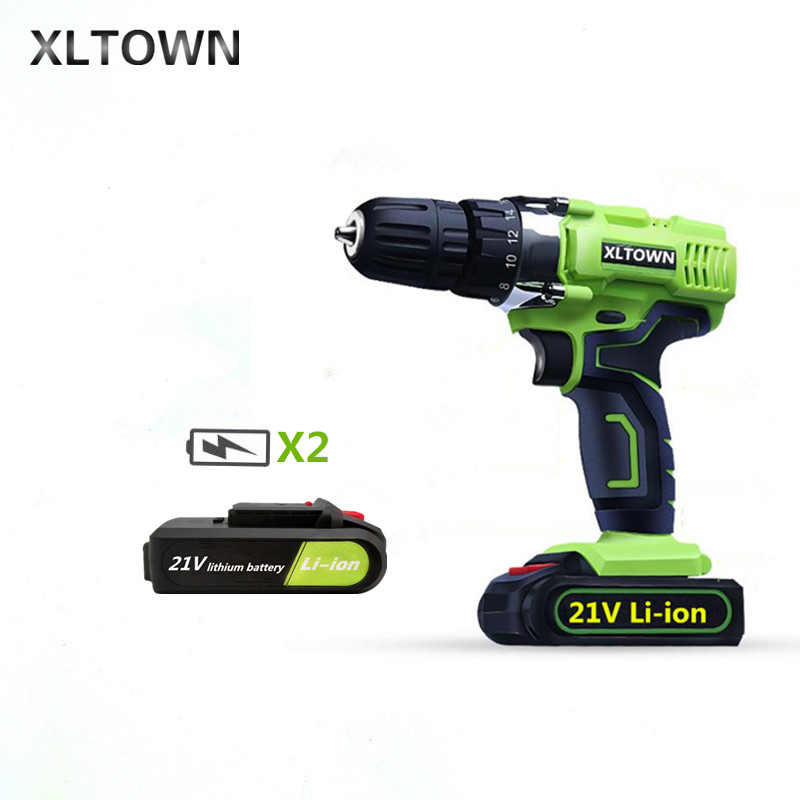 XLTOWN 21V electric screwdriver with 2 battery rechargeable lithium battery electric screwdriver household cordless drill Tools