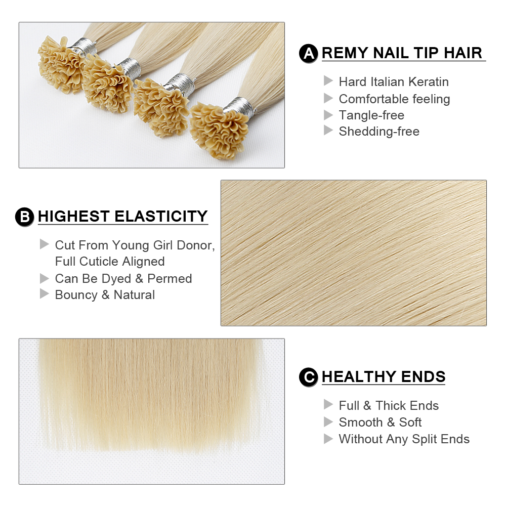 Fairy Remy Hair Fusion Hair Extensions 1g/s 18 Inch Remy Keratin Pre Bonded Human Hair Extension On the Keratin Capsule Nail Tip