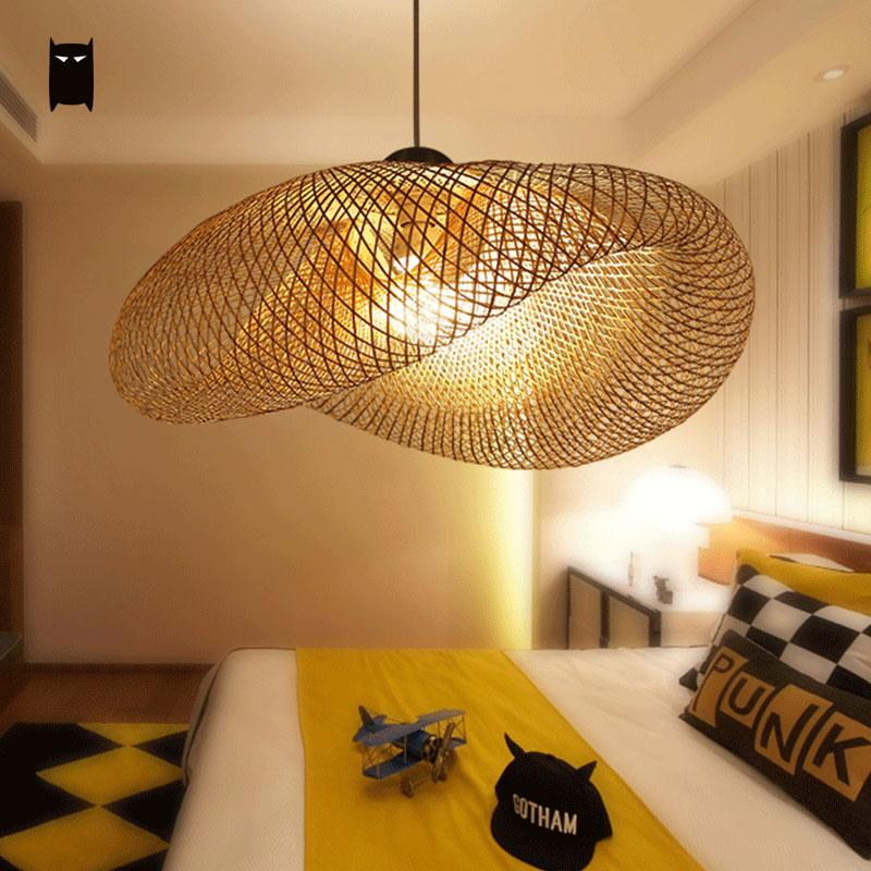 Bamboo wicker rattan wave shade pendant light fixture for Lampe suspendu noir
