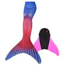 Women Fancy Mermaid Monofin Costumes Girls Tails with Flipper Swimmable Swimwear Fin for Children & Adult
