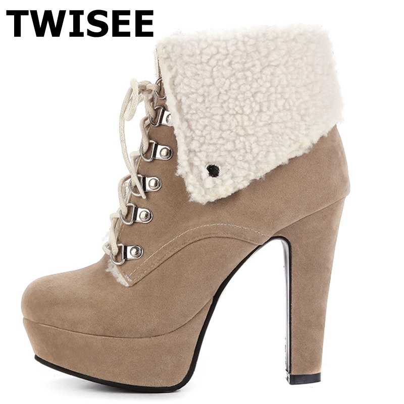 TWISEE Women Ankle Boots Winter Snow Boot Russia Lace-Up Boots high heels 12cm Shoes Platform 4cm Women Boots Footwear Botas
