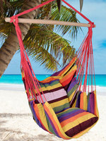 (US) Distinctive Cotton Canvas Hanging Rope Chair with Pillows Hammock Patio Swing Dropshipping