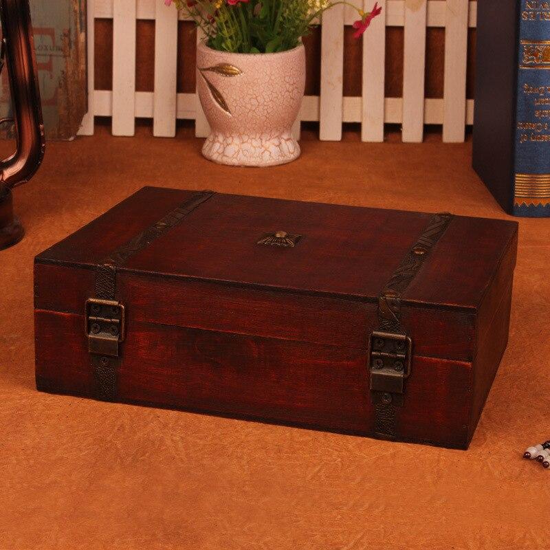 Kotak Vintage Bergaya Kotak kayu kotak dengan Lock Barang Kemas - Organisasi dan penyimpanan di dalam rumah - Foto 3