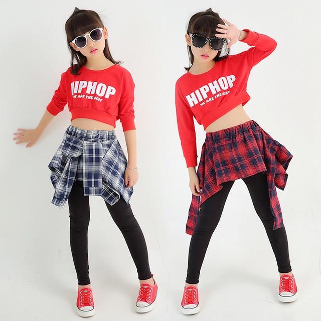 3662cae0b54f7 Girls Two Piece Set Long Sleeve Children Crop Tops And Plaid Skirt Pant  Kids Hip Hop