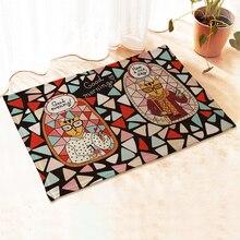 Yazi Anti-Rutsch Küche Teppich Matte Flanell Bunte Ziegel Katze Flur Schlafzimmer Boden Teppich 40×60 CM